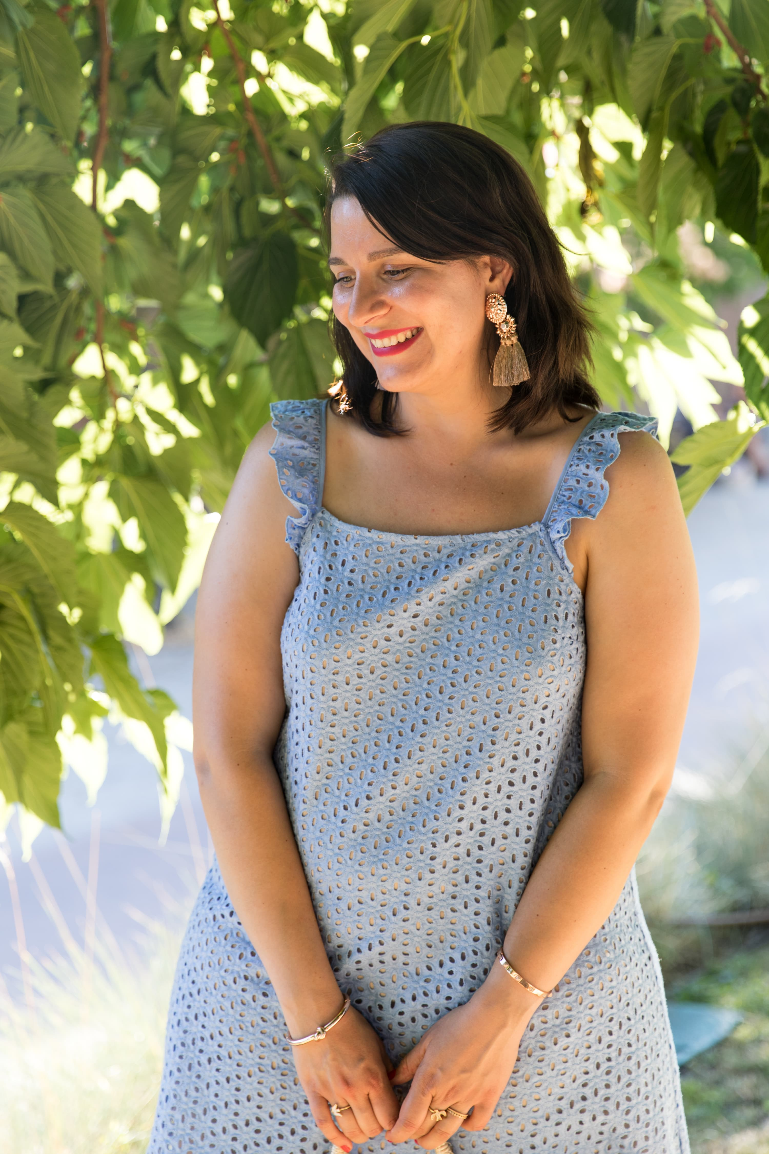 robe bleue broderie anglaise