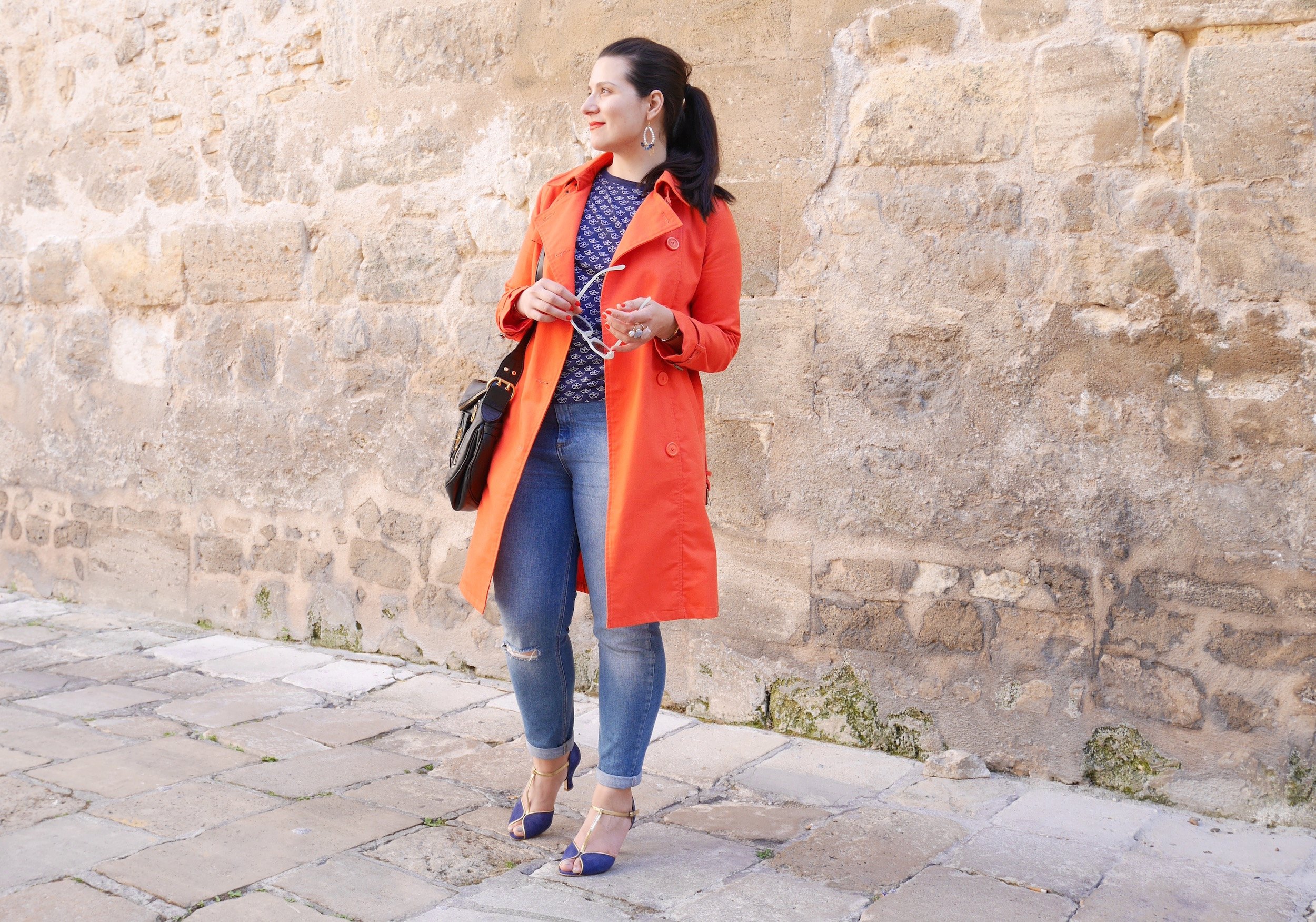 Look trench orange jean