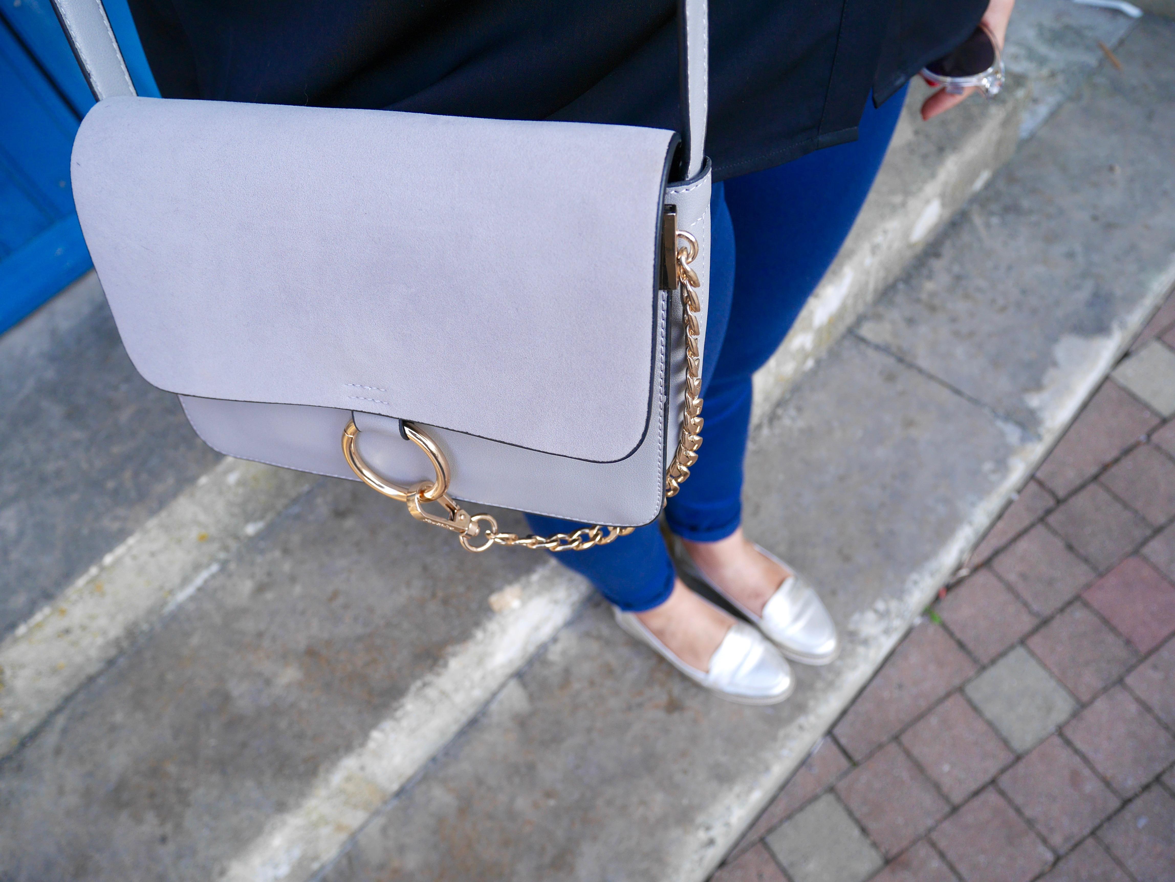 pantalon bleu look
