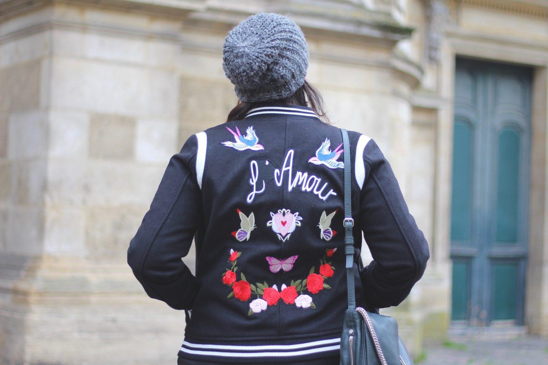Bomber noir brodé L'Amour new look