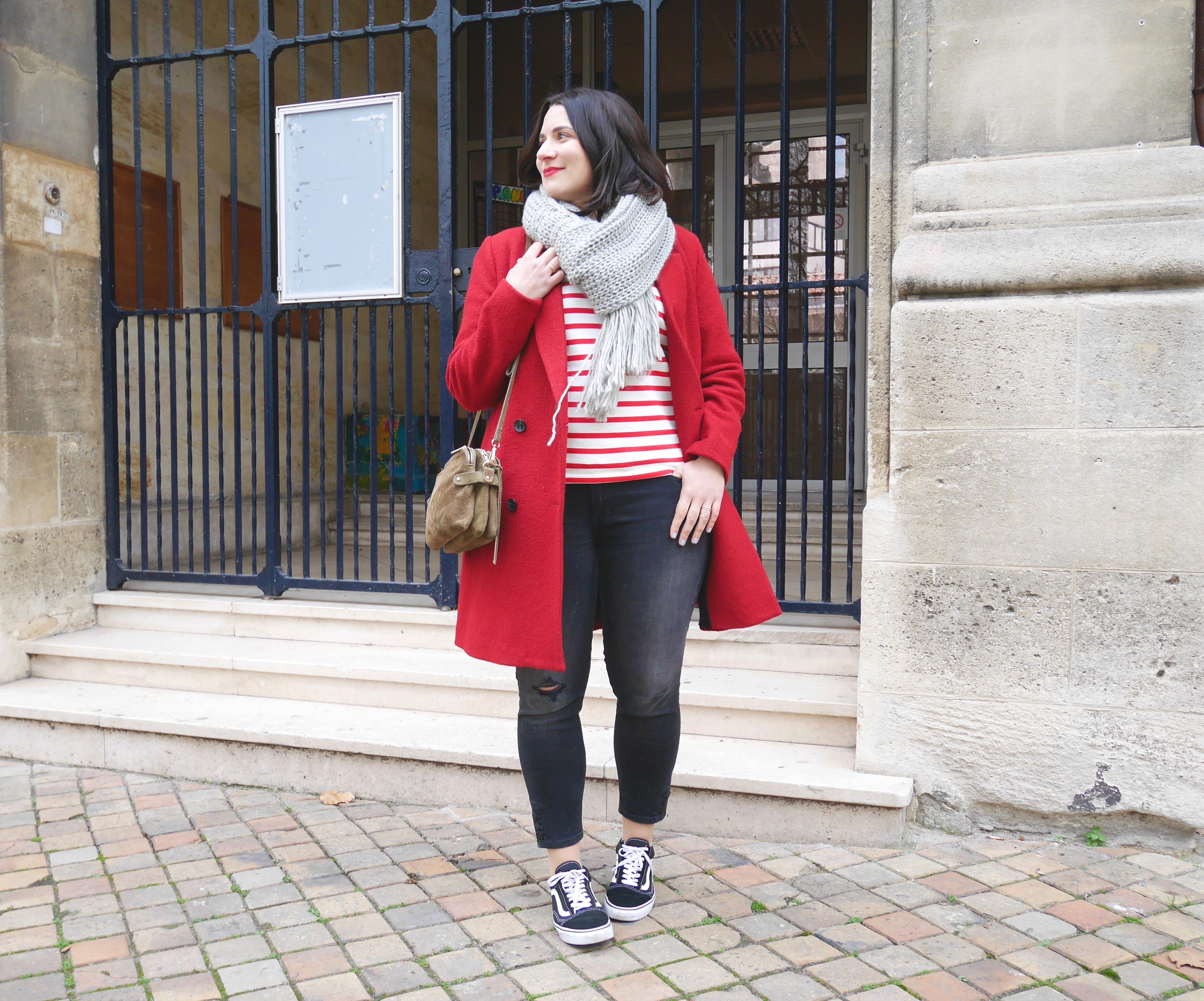 marinière rouge et blanc