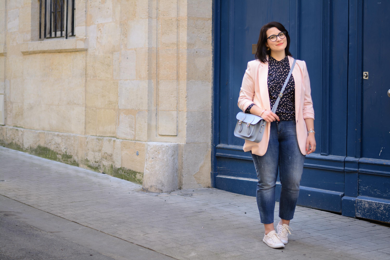 veste tailleur rose