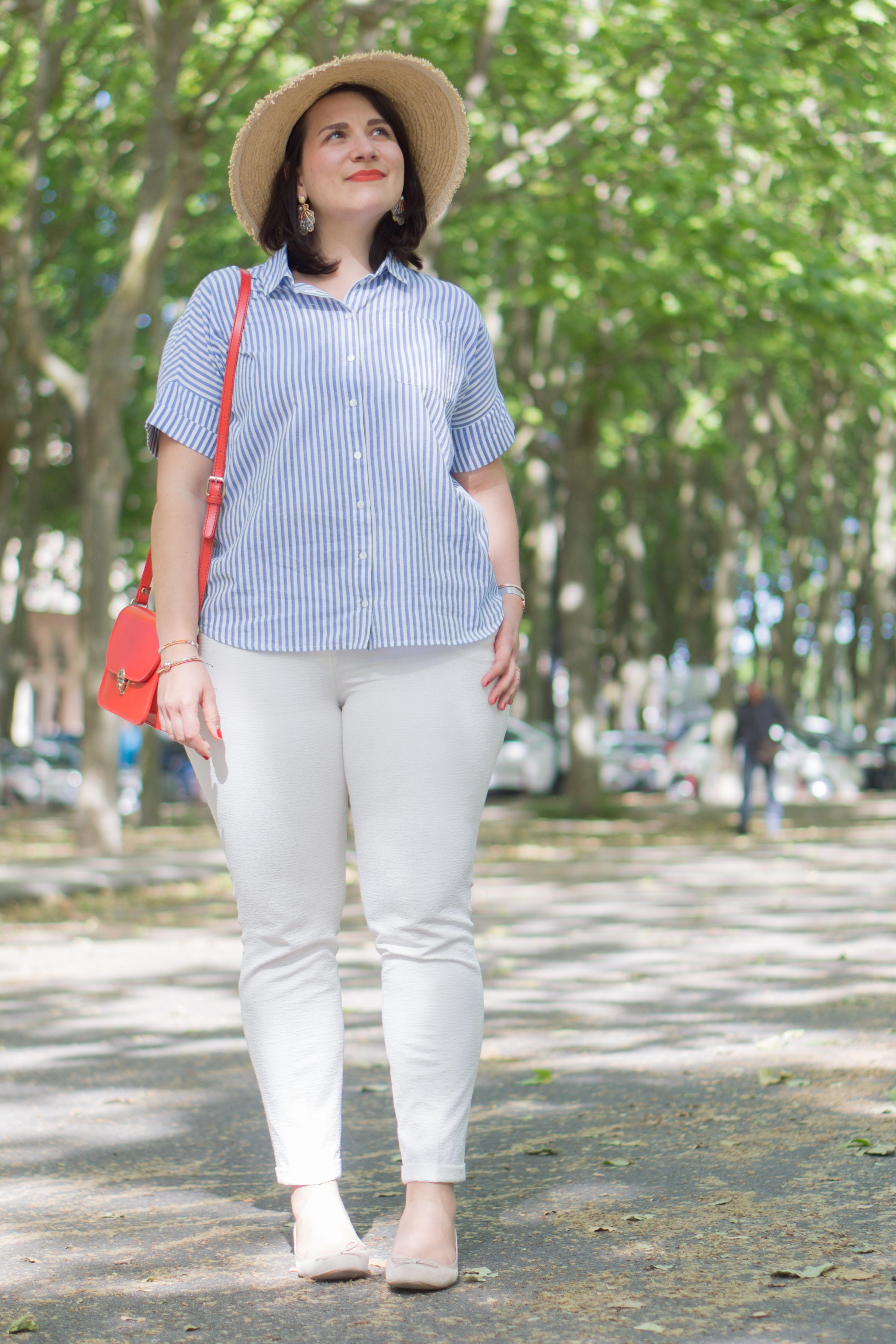 look pantalon blanc