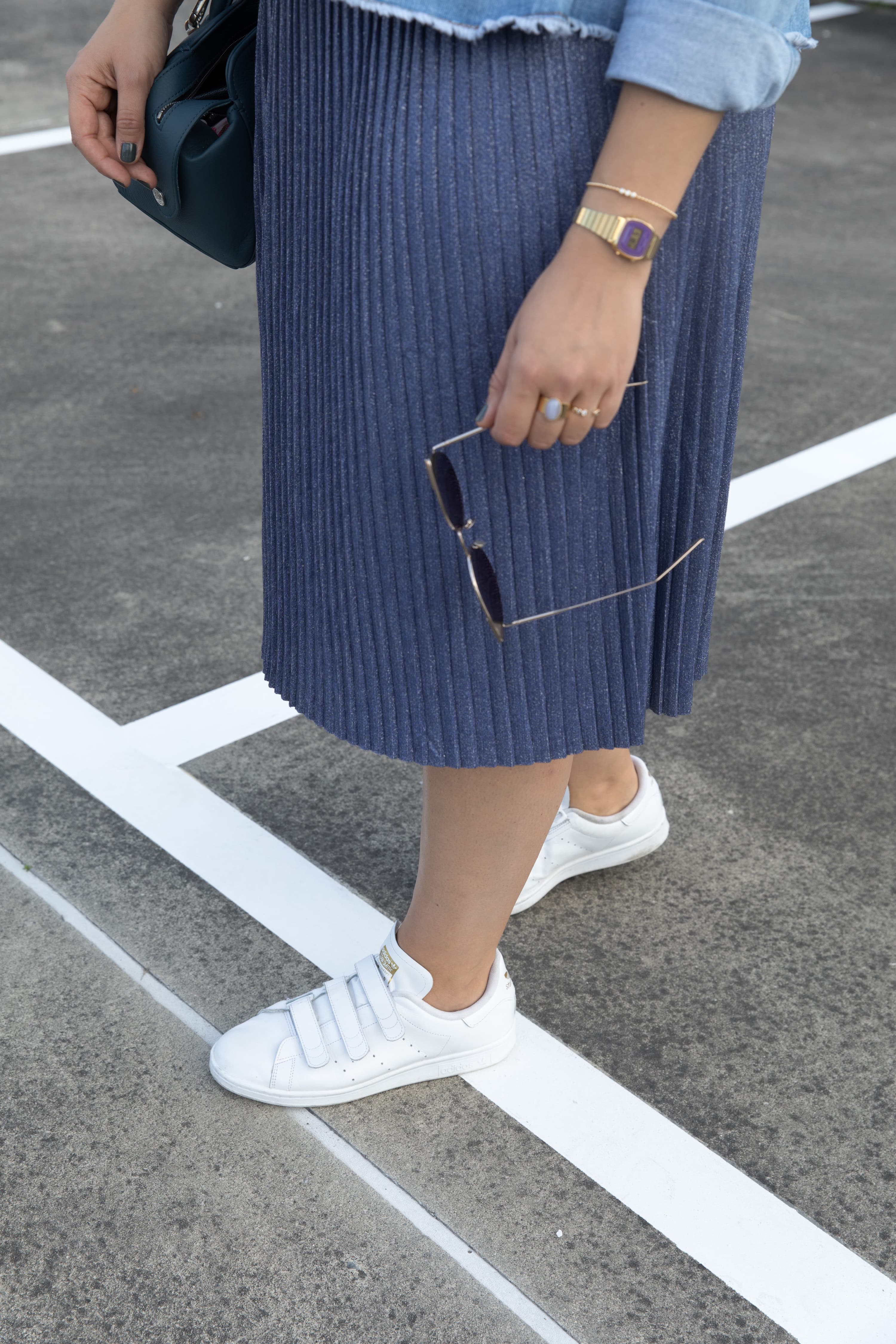 jupe mi-longue bleue
