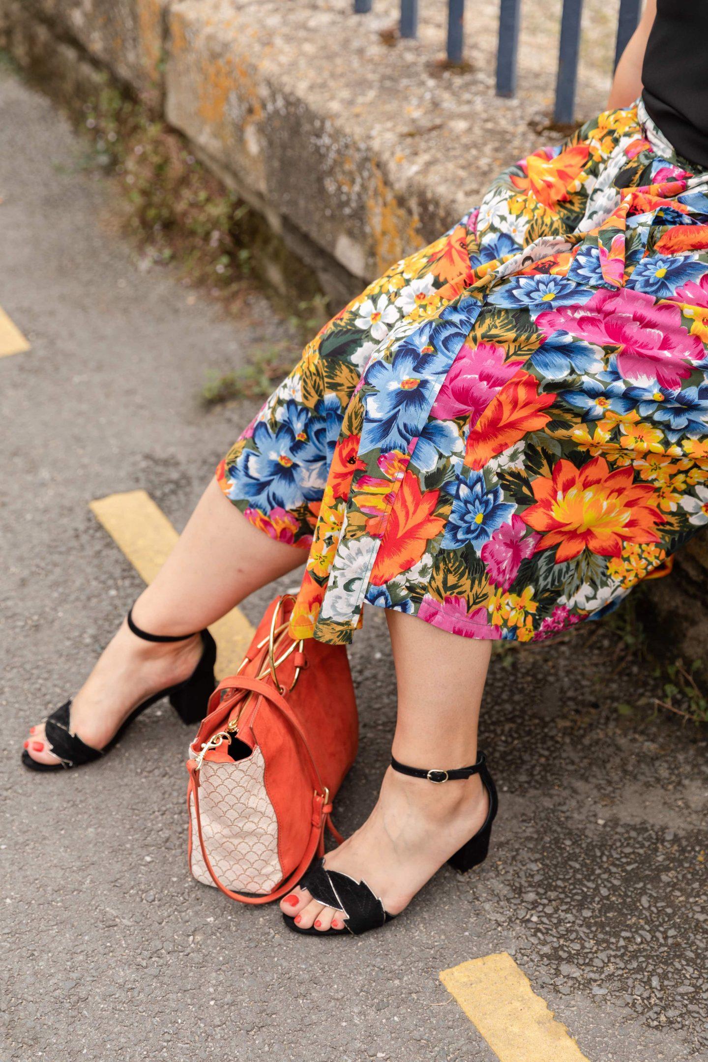 jupe à fleurs vintage