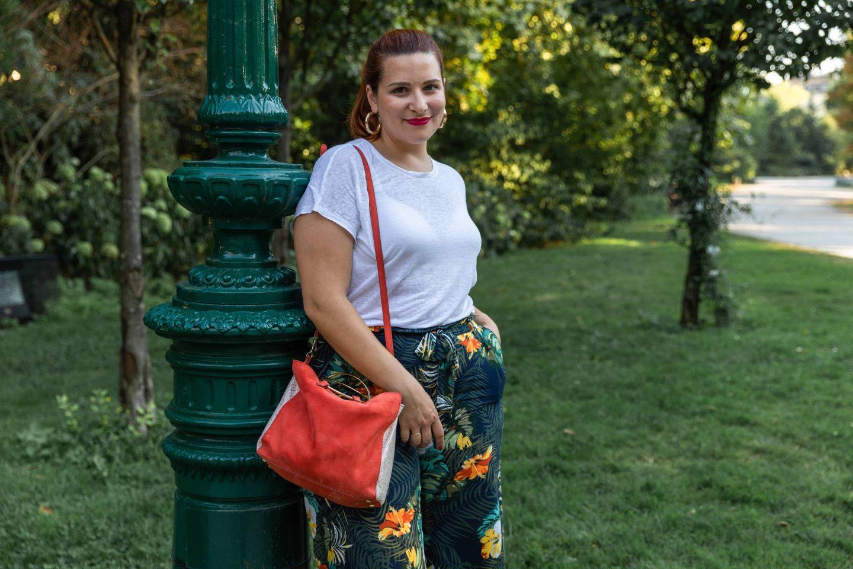 pantalon large à fleurs