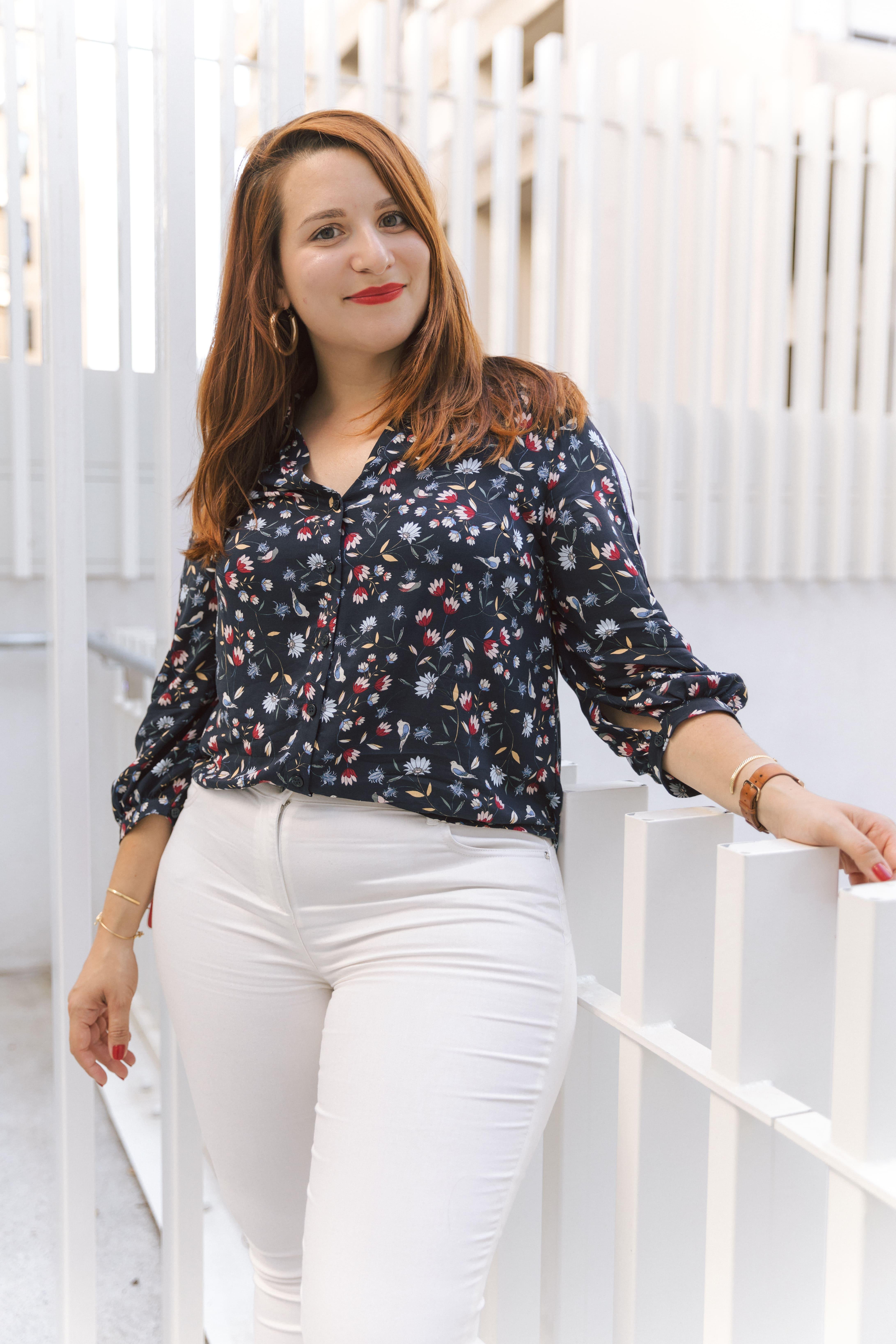 D'automne Et Blanc Fleurs Sport Mode Chemise Un Pantalon À Look En DW9IE2YH