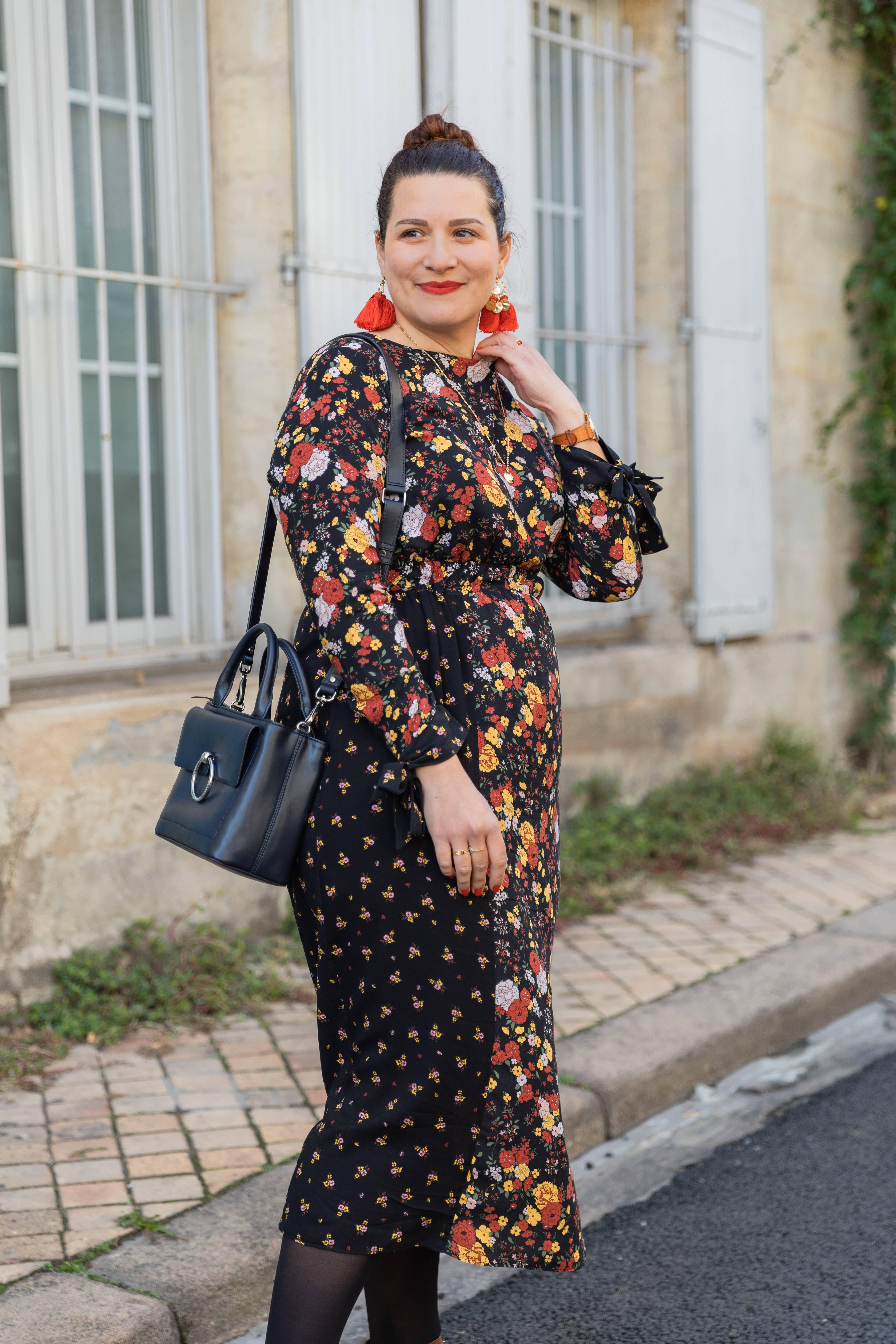 Look-automne-robe-à-fleurs