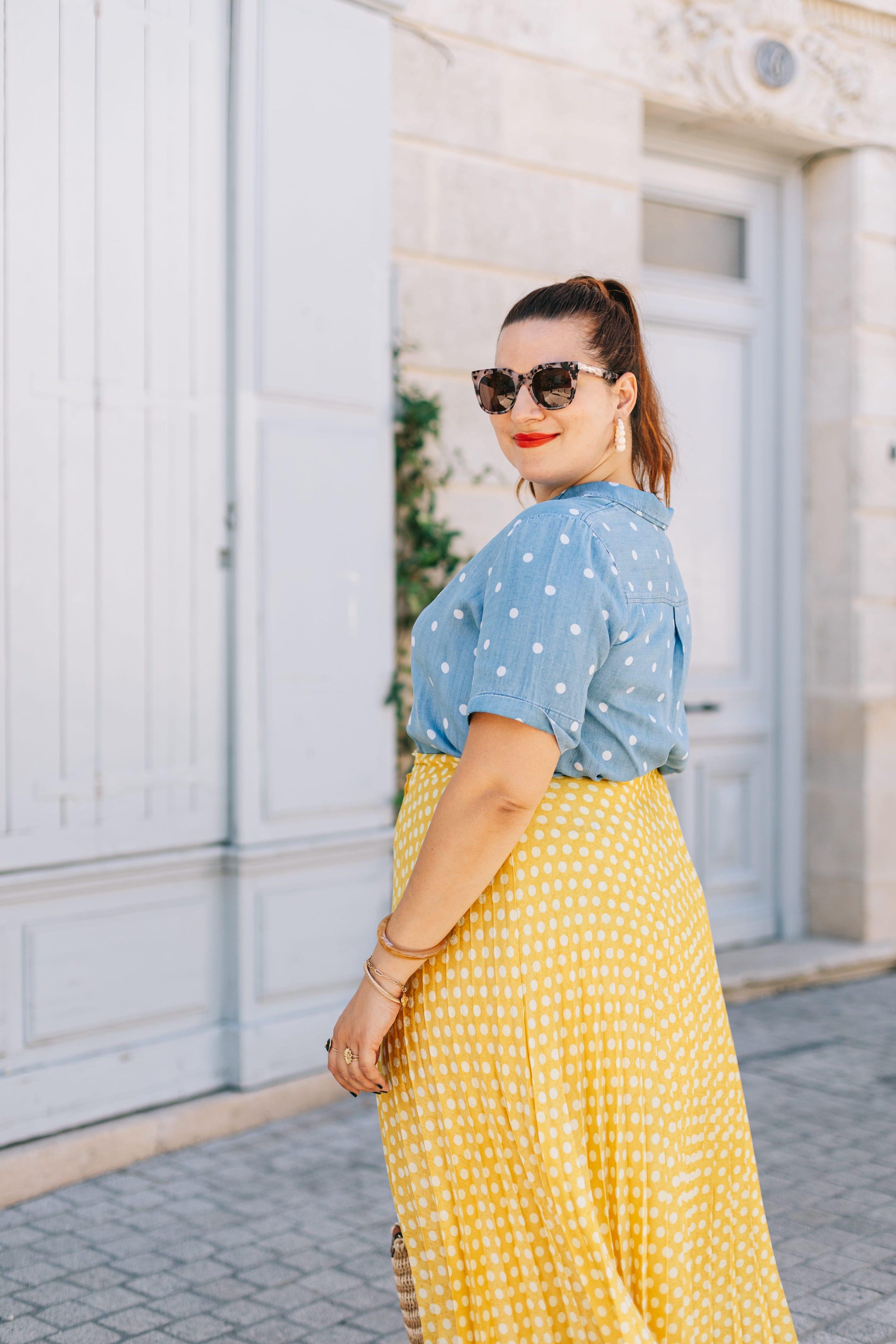 jupe-plissée-jaune-en-soldes